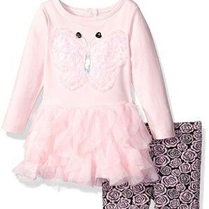 Baby Girl Pink Butterfly Tutu Dress Legging Set NB